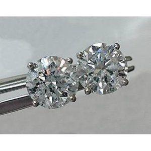 2.2 Ct Diamond Round Stud Earring 14k White Gold